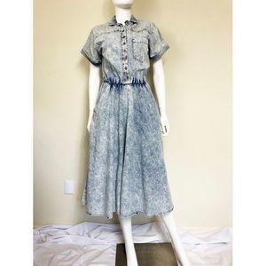 Vintage 80s Acid Wash Denim Midi Shirt Dress Blue